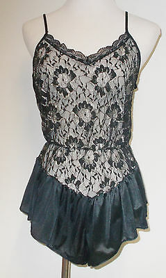Vintage Undercover Wear Black Silver Lace Nylon One Piece Teddy Lingerie USA 1X