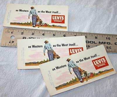 3 VINTAGE 1950-60s LEVI'S COOL!! Western Cowboy Jeans Advertising Ink Blotters