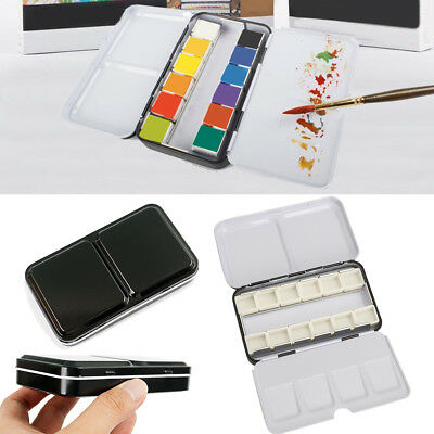 12 Half Pans Palette Case Iron Box For Watercolor Oil Artist Drawing Painting