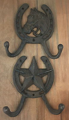 Horse or Star Horseshoe Hook Wall Mount Barn Coat Tack Rustic Western Decor