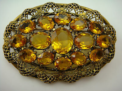 Vintage Czech Topaz Glass Filigree Ornate Oval Sash Pin Brooch Victorian Revival