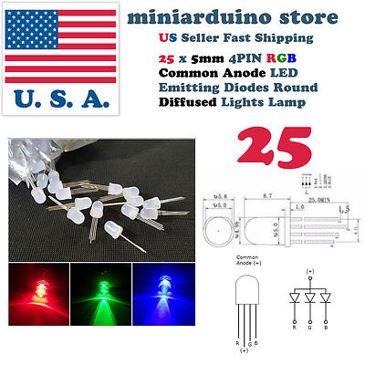 25pcs 5mm 4pin Common Anode Diffused RGB Tri-Color Red Green Blue LED Diodes USA