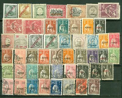Portugal Colony AZORES Mixed Group of 48 MH & used stamp Lot#3214