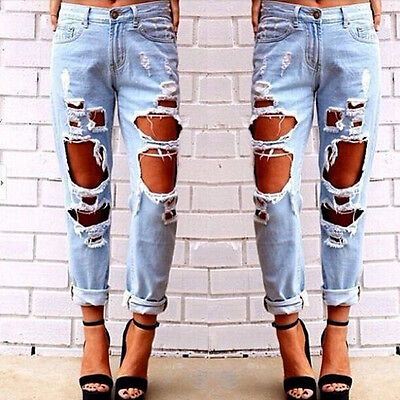 New Womens Destroyed Ripped Distressed Slim Denim Pants Boyfriend Jeans Trousers