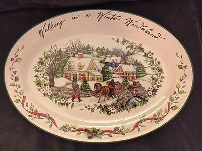"Susan Winget Winter Wonderland 19"" Oval Turkey Platter Certified International"