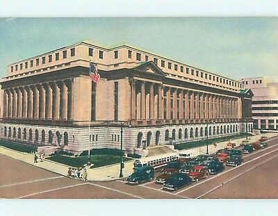 Unused Linen OLD CARS & FEDERAL BUILDING Louisville Kentucky KY Q9308