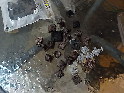 Warhammer compatible square bases plastic resin textured toppers