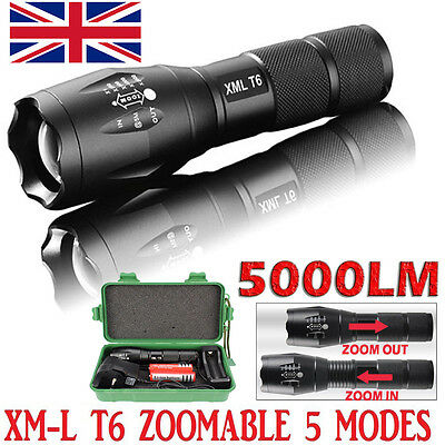 Tactical LED Flashlight XML-T6 Zoomable Torch Lamp 18650 Battery Charger 5000LM