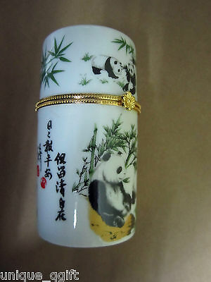 Pandas panda bear w/bamboo Toothpick tooth pick holder Trinket box case Ca un33