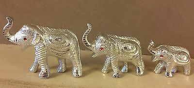 Silver Elephant Family Ornament Figure Standing Statue Gift Home Decor