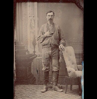 unusual Victorian tintype of man odd shirt, missing finger occupational western
