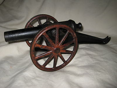 """Antique Toy Cast Iron Cannon 12"""" Overall Good Condition Original Paint"""