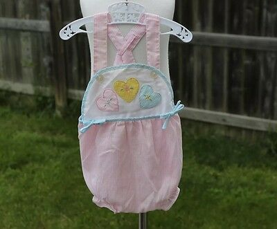 Vintage Baby Girl's Sunsuit Fits 3 6 Months Romper Gingham Hearts