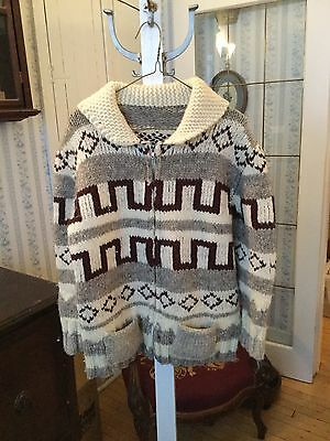 REDUCED! Warm and cozy vintage hand knit wool Cowichan sweater siwash