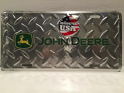 John Deere Silver Diamond Plate  Metal LICENSE PLATE