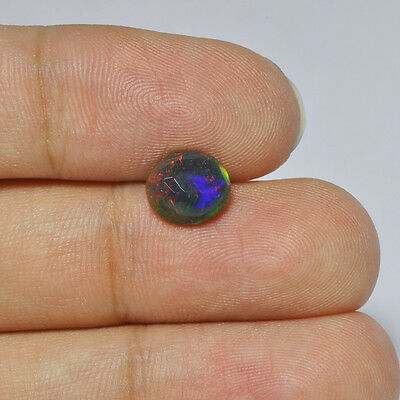 1.18Cts Natural Welo Ethiopian Black Opal Solid Fire Play Gemstone Oval Cabochon