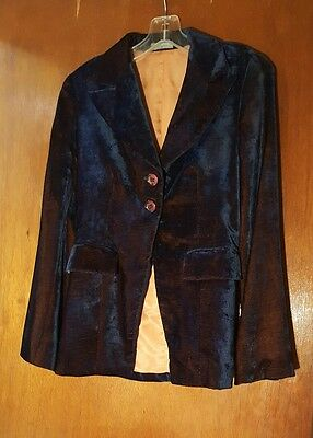 Vintage Paco Rabanne French Casual Blue/Orange Iridescent Velvet Blazer S