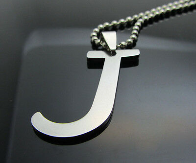 Hot letter J 1pcs Women/ Men's Silver 316L Stainless Steel  Pendant Necklace
