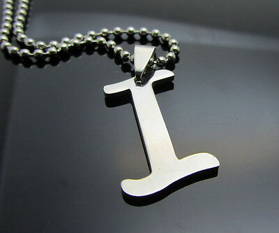 Hot letter I 1pcs Women/ Men's Silver 316L Stainless Steel  Pendant Necklace