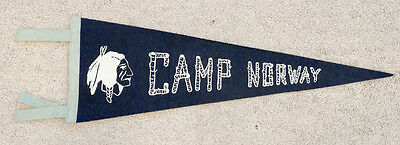 Unidentified CAMP NORWAY Vintage FELT PENNANT Boy Scout WW2 Hunting Fishing ?