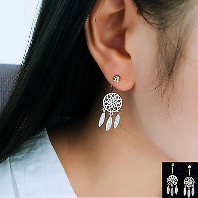 925 Sterling Silver Feather Dangle Drop Hoop Stud Earrings Crystal CZ Dreamcatch