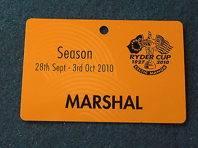 Ryder Cup 2010 - Celtic Manor - Marshal Pass