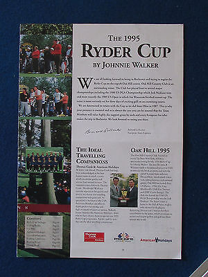 Ryder Cup 1995 - Oak Hill, New York - Travel Brochure - 8 pages