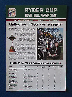 Ryder Cup News - September 1993 - Issue No 3 - The Belfry - 8 page Publication