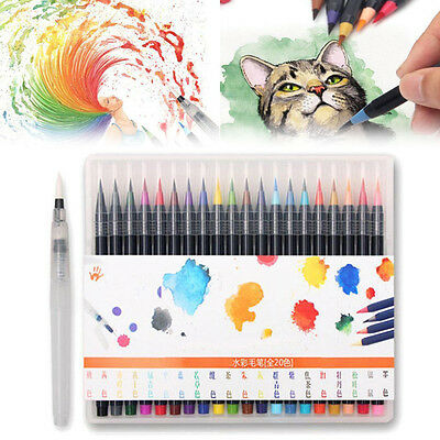 20Pcs  Calligraphy Watercolor Painting Pen Soft Brush Artist Sketch Marker Set