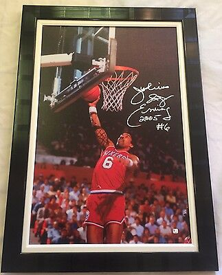Julius Erving Signed n Inscribed on Canvas Framed 36x25in Huge Sign. Global Holo