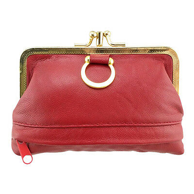 Women Genuine Leather Coin Purse Hasp Small Wallet Card Holder Bag 12*8.5*1.3cm