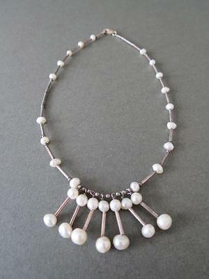 Vintage Modernist Necklace Scandinavian Solid Silver and Real Pearl
