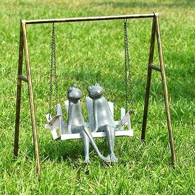 WHIMSICAL FROGS ON PORCH SWING * 27.5 inches Patio Statue Yard GARDEN DECOR