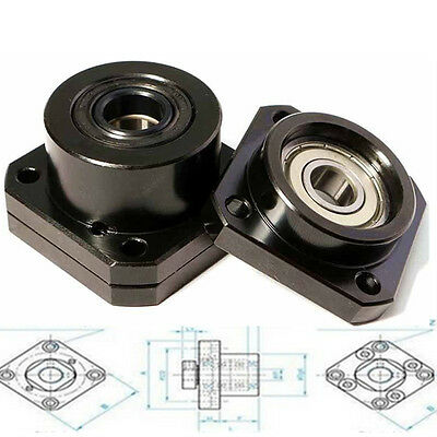 1 Set Fixed Side+Floated Side Ballscrew End Supports Bearing Block FF12/FK12