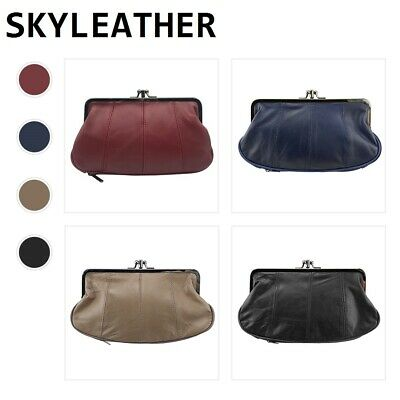 Women's Genuine Leather Coin Change Purse Hand Bag Wallet Evening Bag