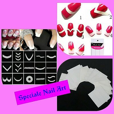 Guide per french unghie lunette adesive stickers smalto gel nail water decals