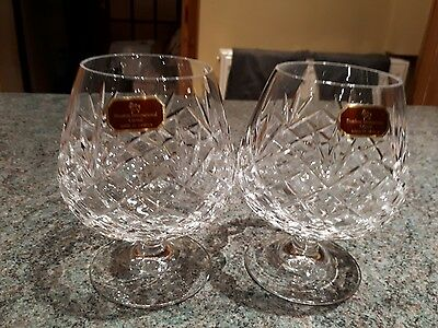 Stunning Doulton International Cut Crystal Large Brandy Glasses Pair