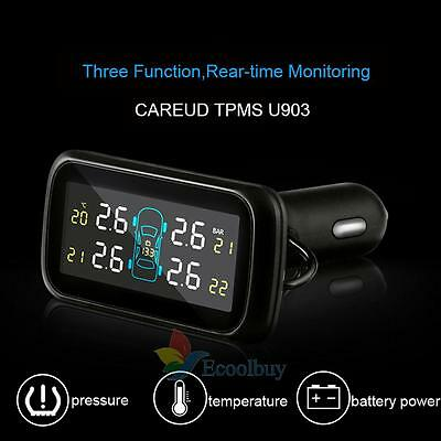 Car Auto Wireless TPMS Tyre Pressure LCD Monitoring System + 4 External Sensors