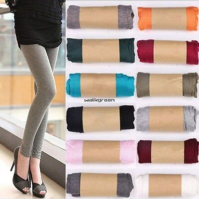 Women Ladies Stretchy Skinny Cotton High Waist Leggings Pants Slim Trousers WN