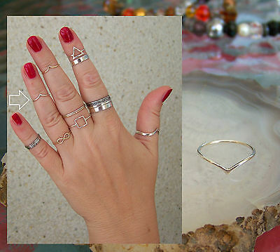 925 Sterling Silver, Chevron 1mm Band Midi Ring  Above Knuckle Ring.