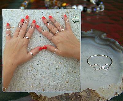 925 Sterling Silver, Infinity 1mm Band Midi Ring  Above Knuckle Ring