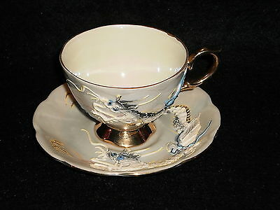 Stunning Shafford Hand Decorated Dragon Dragonware Moriage Cup And Saucer Japan