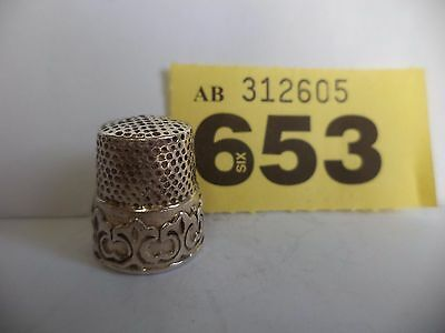 Vintage .925 Solid Silver Thimble with Ornate Decoration - Birmingham / 1992