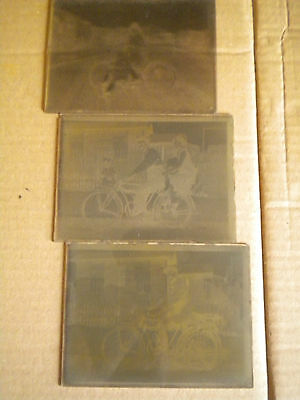 Glass plate Negatives early motorcycle motorbike Bicycle France 1930s 12 x 9 cms
