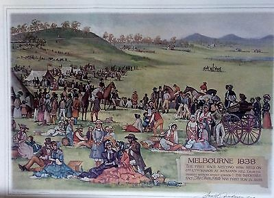 Harold Freeman limited edition print  Melbourne's first horse race VRC commissio