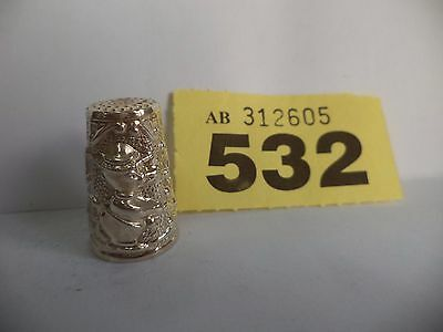 Vintage Continental / Scandinavian .925 Solid Silver Pictorial Thimble - Duck