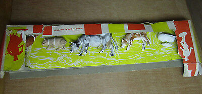 BRITAINS Set of FIVE PLASTIC FARM ANIMALS. PIG COW FOWL ROOSTER  CALF DUCK GOOSE