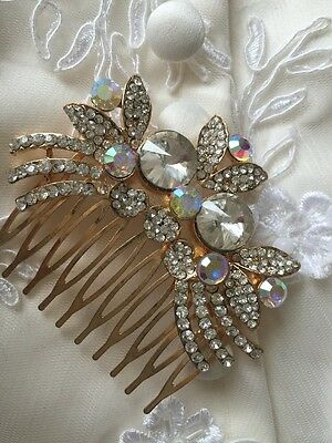 Diamanté AB Crystal Gold Small Hair Comb indian Asian Bridal Accessories