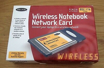BELKIN F5D6020u PCMCIA Wireless Notebook Network Card 802.11b 11Mbps - Boxed