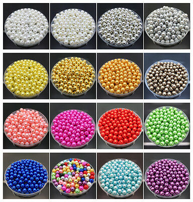 200Pc Acrylic Round Pearl Spacer Loose Beads For Jewelry Making DIY 4/ 6/8/10mm